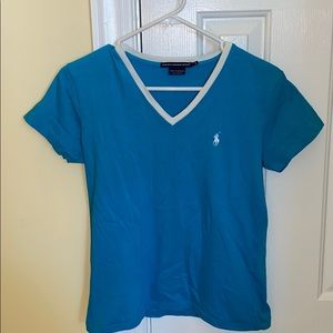 Ralph Lauren Sport Aqua Blue V neck tee